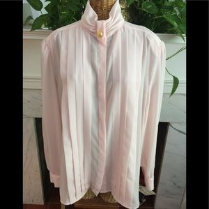 Pretty In Pink  Pleated Blouse Hasting & Smith